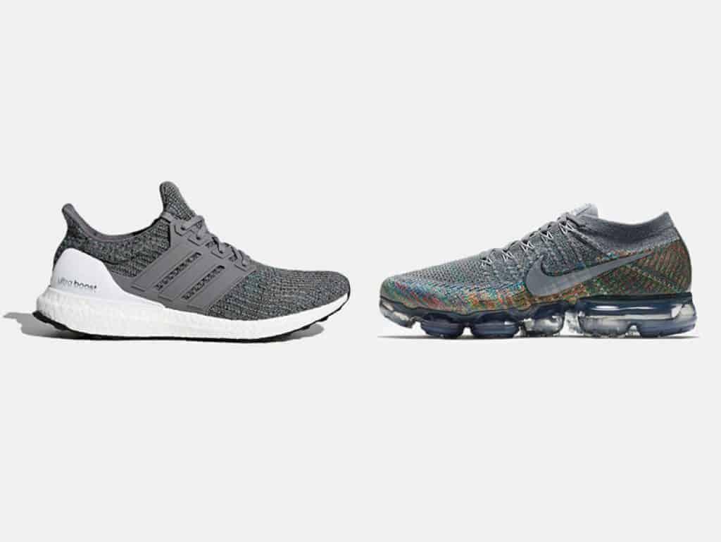 Adidas Ultra Boost (слева), Nike Air VaporMax (справа).