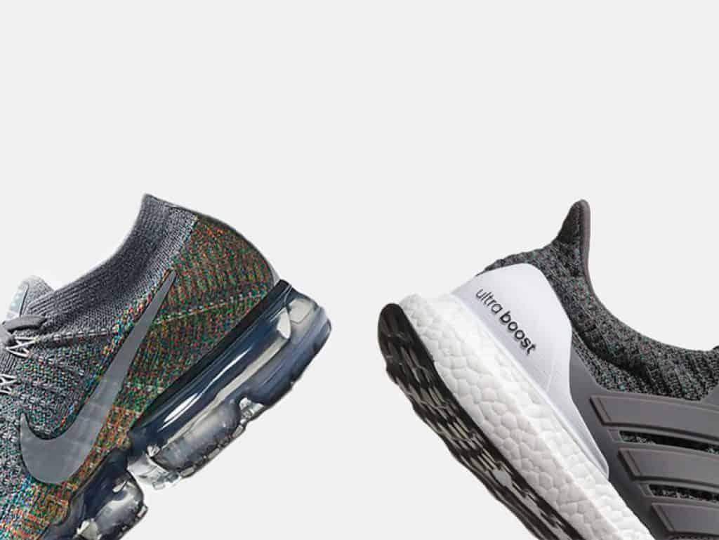 Nike Air VaporMax (слева), Adidas Ultra Boost (справа).