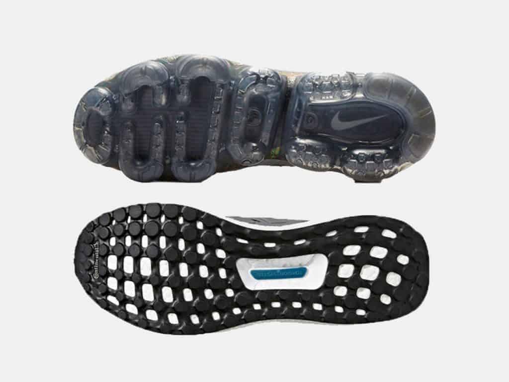 Nike Air VaporMax (сверху), Adidas Ultra Boost (снизу).