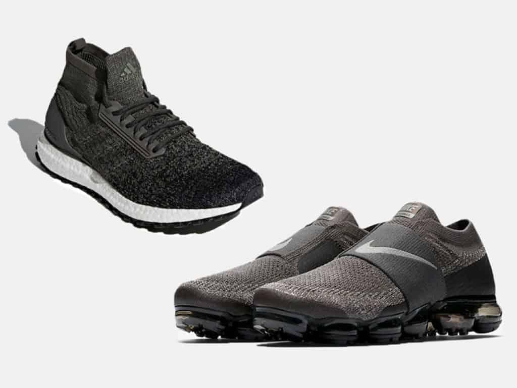 Adidas Ultra Boost ATR Mid (слева), Nike Air VaporMax Flyknit Moc (справа).